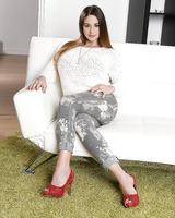 European babe Cathy Heaven posing in high heels and denim jeans