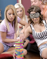 Two dicks for four teens Nikky, Cathy Heaven, Tiana, and Bibi after tower game