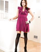 Gorgeous Sierra Skye takes off her stunning purple sexy dress