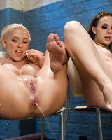 Chanel Preston and Katie Summers show off their peeing skills on camera