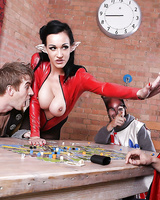 Sexy female in latex suit Chantelle Fox brings blowjob to horny guy