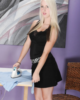 Beautiful teener Darcie Bells stripping off skirt and panties