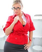 Big boobed blonde Devon Lee shows her pink pussy in bright yellow heels