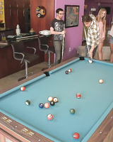 Pool hall party gets dirty when sexy clothed girls get naked for some real fun