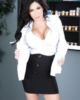 Dark haired pharmacist Emily B moonlights as a nude model after hours
