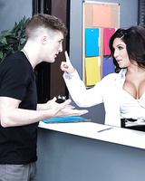 Office cumshot scene with a big tits milf cutie Emily B and her boss