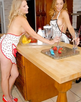 Steaming hot MILF have some sweet lesbian humping fun in the kitchen