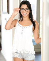 Brazilian solo girl Gina Valentina takes off her glasses and then her clothes