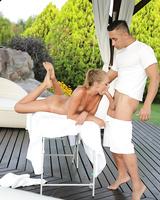 Nude Euro chick Ivana Sugar sucking off her masseur on massage table