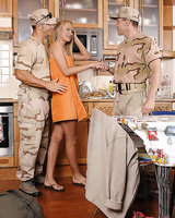 Blonde Euro slut Ivana Sugar taking DP from men in military uniforms