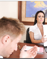 Ravishing office slut gets slammed and takes a cumshot on her tongue