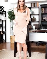 Big titted MILF brunette Jaclyn Taylor gets boned on the desk by her boss