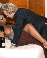 Ebony milf with big natural tits Jada Fire has her oiled pussy fucked