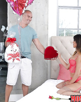 Stocking and garter clad Latina teen Sophia Leone giving blowjob