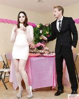 Brunette chick Jenna J Ross taking cumshot in mouth at wedding reception