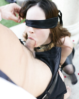 Blindfold pornstar Jenna Ross takes a dick in mouth and pussy and moans loudly