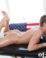 Oiled up slut Jessa Rhodes spits out jizz after sucking cock