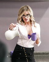 Glasses wearing secretary Jessa Rhodes getting fucked by coworker on table