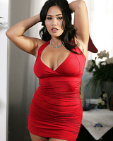 Tempting asian lady with curvy body gets rid of her red dress and panties
