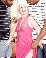Horny granny Jewel has sexual relations with two black men at once