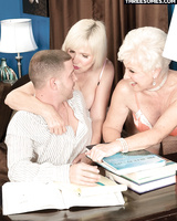 Horny grandmothers Jewel and Lola Lee invite a younger man into having a 3some