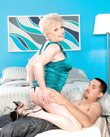 Hot granny Jewel fucks her younger Latino lover after lingerie removal