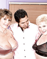 Naughty grandmas Bea Cummins and Jewel having 3some with male Latino