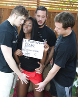 Black slut Jezabel Vessir gets fucked by 3 white dudes in the backyard