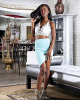 Pretty ebony Jezabel Vessir spreads and toys her chocolate pussy in high heels