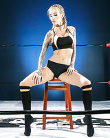 Tattooed MILF Sarah Jessie removing sports bra and panties wearing knee socks