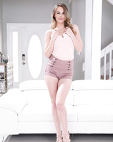 Hot housewife Jillian Janson models in the nude while her husband is away