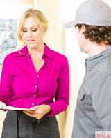 Blonde American cougar Julia Ann seduces the much younger repairman