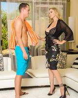 Blonde cougar Julia Ann seduces her son's friend in a knee length skirt