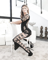 Solo girl Julia Roca strutting in high heels before spreading pussy