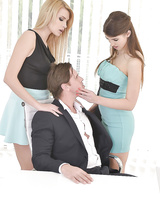 Office babes Karina Grand and Susan Ayn seduce boss for FFM threesome
