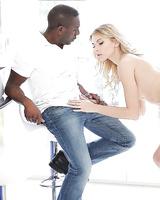 Petite European blonde Lana Roberts giving interracial bj for cum on face