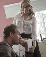 Blonde secretary Karla Kush fucking on office desk in glasses