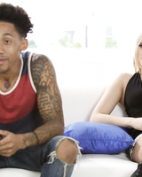 Young blonde girl Kate England gets banged by a black gamer boy