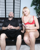 Hottie Kate England gives a big cock handjob during interview in red lingerie