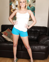 Hot Kate England in shorts flexes her bare toes and spreads pussy lips wide