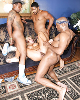Wild Katie Summers got her holes poked by three monster black cocks