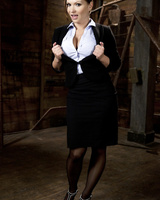 Business lady Katja Kassin strips naked in a dungeon at the end of a hard day