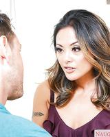 Asian wife Kaylani Lei taking cumshot on MILF face after giving blowjob