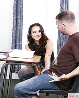 Cute coed Kharlie Stone sucking and fucking cock in classroom