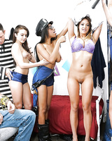 Dorm room coed Kharlie Stone & her girlfriends fuck each other and a dude too