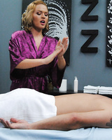 Hot masseuse Krissy Lynn takes her client's stiff cock deep in the ass