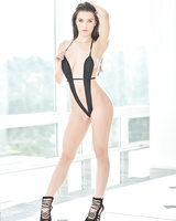 Sexy Lana Rhoades strips off her hot one-piece swimsuit and poses