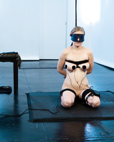 Lesbians Penny Pax and Lea Lexis do electro clamp BDSM with a foot fetish