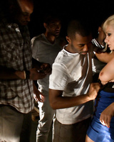 Romanian female Lea Lexis finds herself being gangbanged by black men