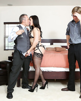 Dark haired wife Lea Lexis fucks another man in front of her cuckolded husband